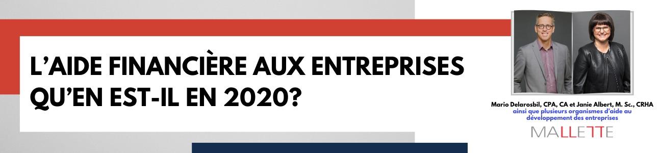L'aide financière aux entreprises //  Qu'en est-il en 2020?